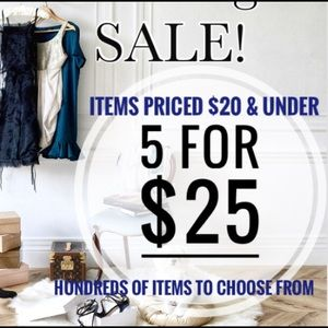 5 for $25 sale items $20 and under all categories
